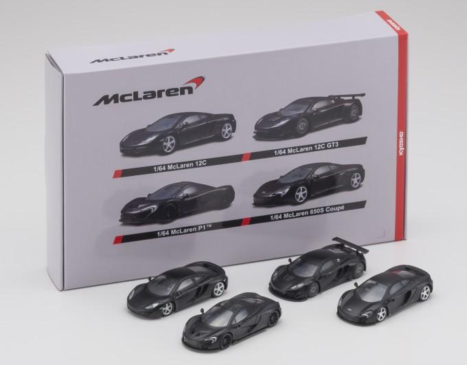 B賞は1/64マクラーレン4台セット(マッドブラック)。車種は、MP4-12C、MP4-12C GT3、P1、650S クーペとなっている